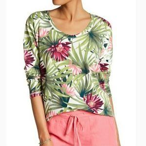 Tommy Bahama Hawaiian floral print striped t shirt